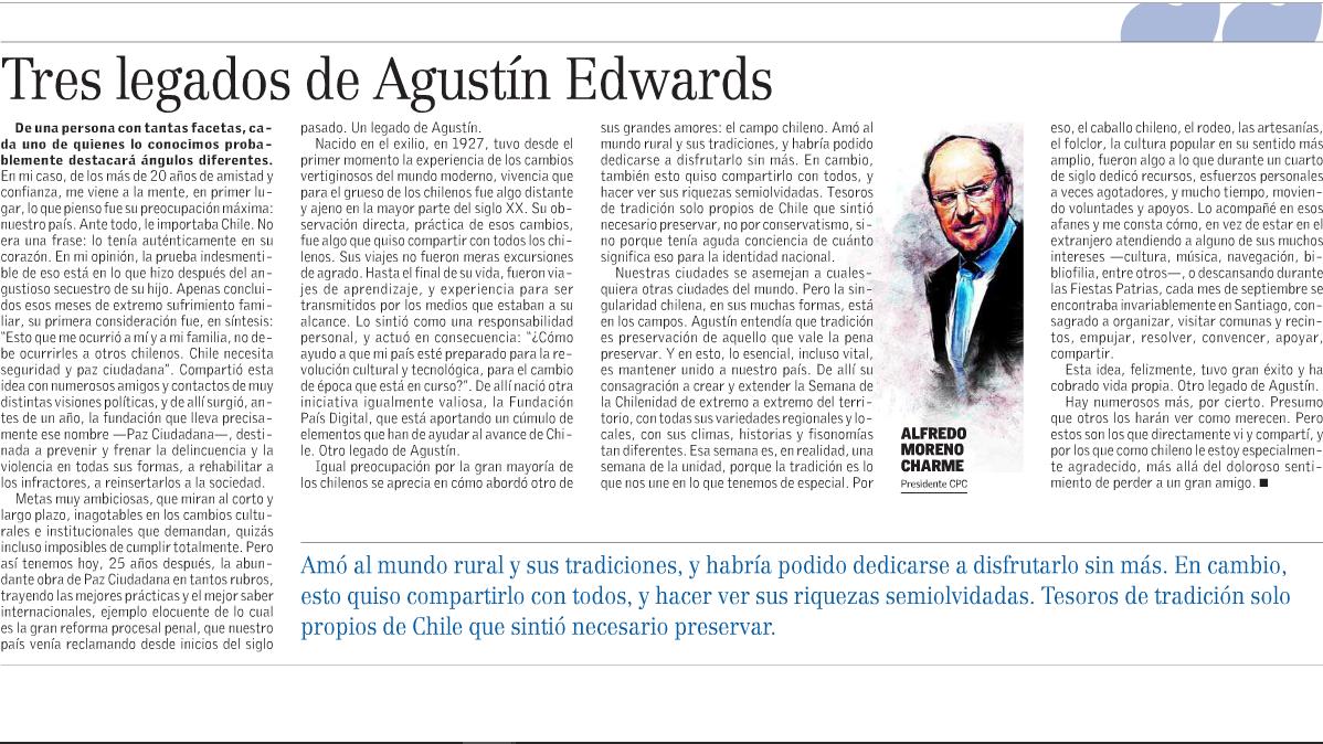 Tres legados de Agustín Edwards