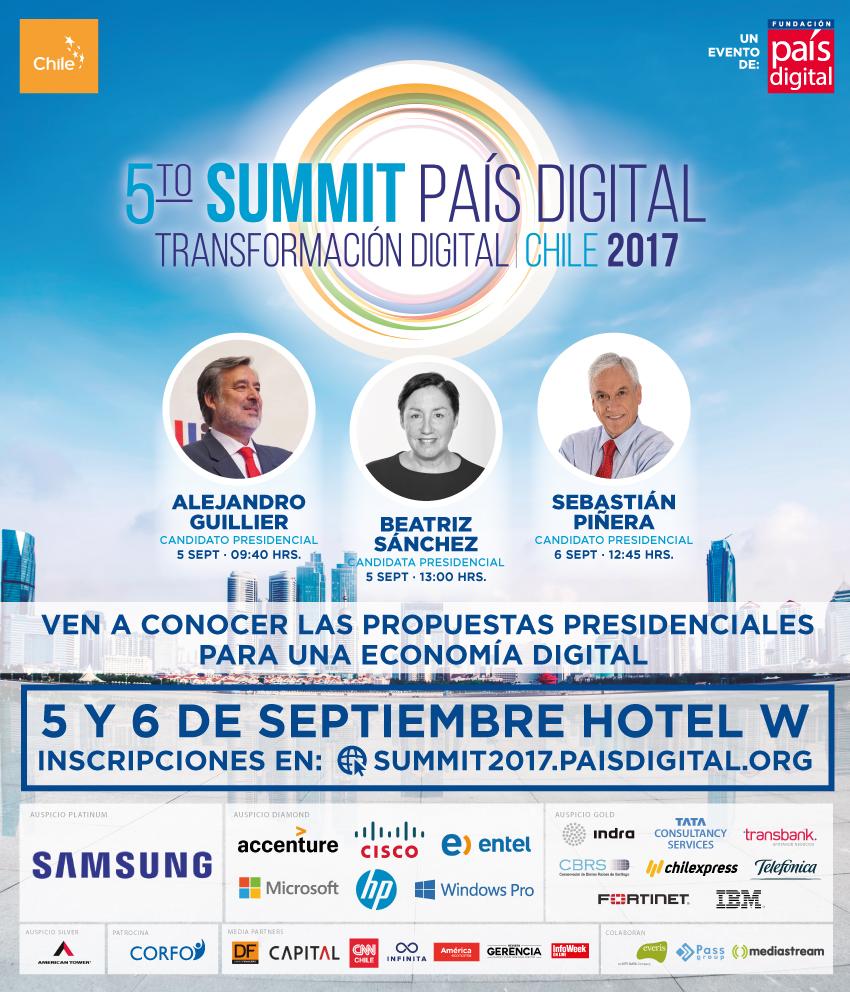 Candidatos presidenciales presentarán su agenda digital en el V Summit de Fundación País Digital