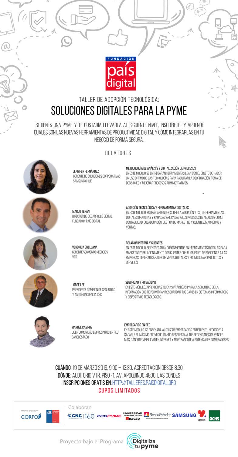 Fundación País Digital y VTR invitan a las Pymes de Santiago a inscribirse en sus talleres de adopción tecnológica